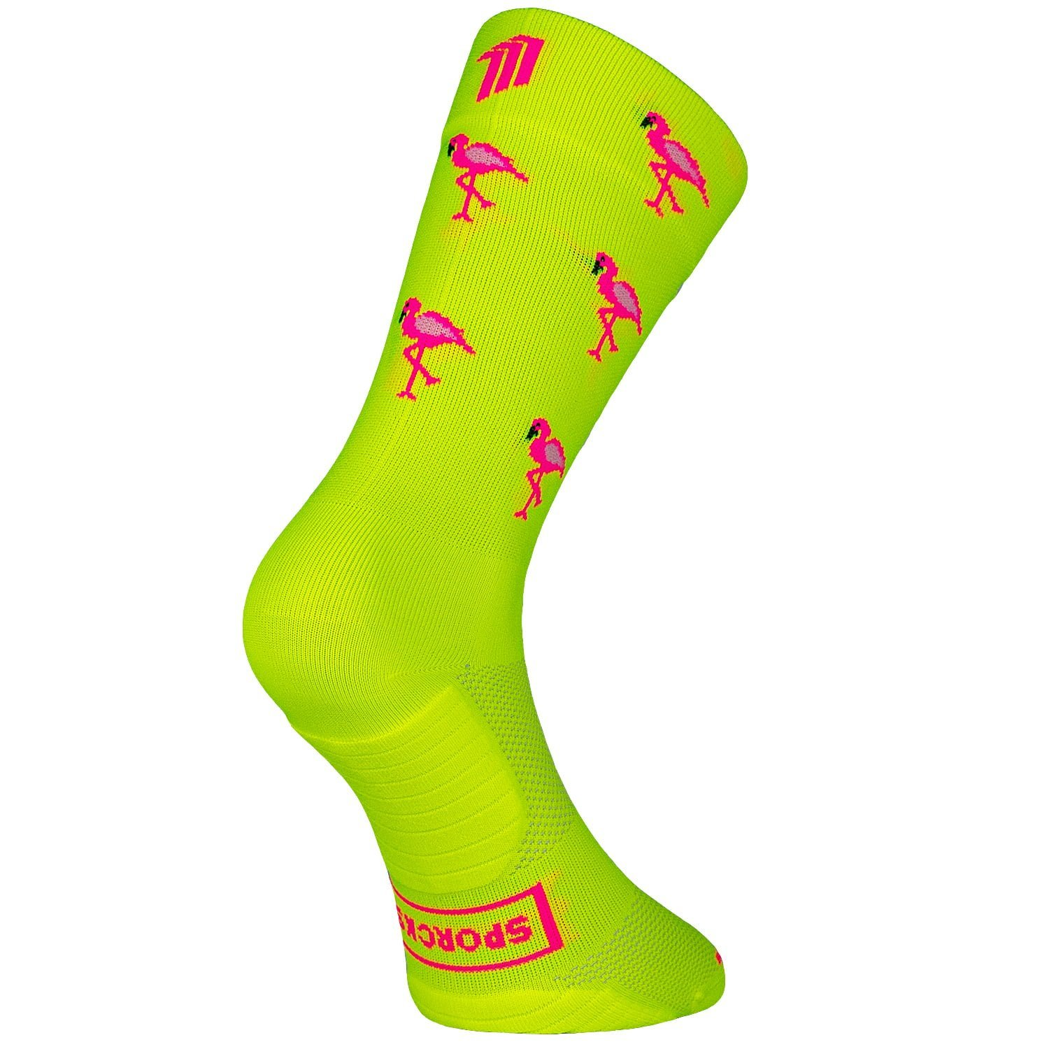 Flamingo Yellow II - Cycling sock